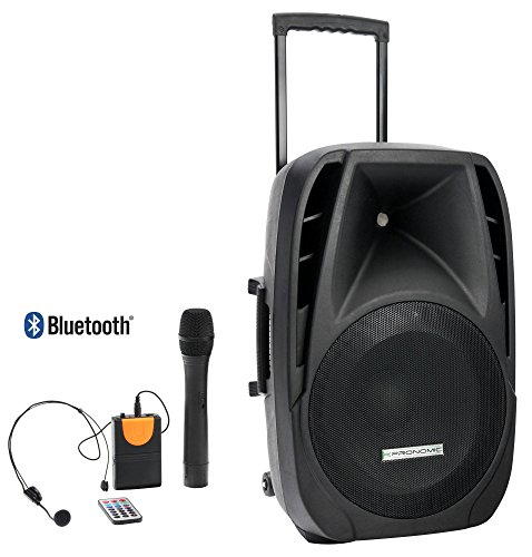Pronomic 00036615 PH15AW Akku-Aktivbox (38,1 cm (15 Zoll), Trolley Box, Speaker, 100 Watt, RMS, 5 Stunden Laufzeit, Bluetooth, MP3/SD/USB-Player) inkl. Funkmikrofon, Headset, Fernbedienung