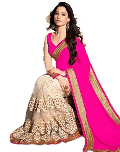 Triveni Creation Women's Clothing designer Wear Low Price Sale Offer buy online in Pink Georgette Material New Printed Free Size beautiful Saree For Women Party Wear Offer Designer Sarees  available at amazon for Rs.399