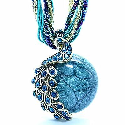 Women's Vintage Bohemian Style Phoenix Peacock Crystal Diamond Opal Pendant Necklace