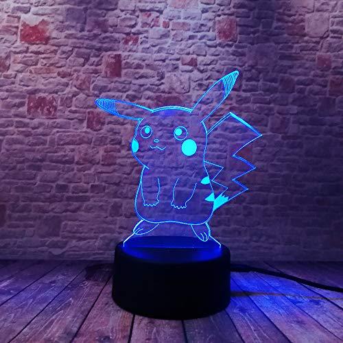wangZJ führte Nachtlichter/Nachttischlampe der Illusions-3d / 7 Farben, die Schlafenbeleuchtung/Weihnachten/Spielzeug/Pokemon ändern (Pokemon-stecker)