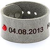 Area17 Mutterschmuck Vollrind Lederarmband Smog mit Geburtsstein - mit Wunsch Gravur - small