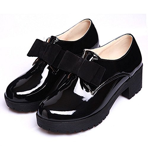 COOLCEPT Pumps Damen Runde Zehe Slip On Bogen Flach Schuhe 2016 Für Party Schwarz
