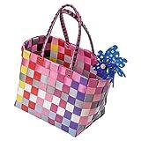 LA FIORE 24 Grosse Original Shopper Einkaufstasche Einkaufskorb Badetasche Strandtasche Korbtasche Kunststoffgeflecht abwaschbar 40x25 H.28/50cm (Rot-Pink-Gelb)
