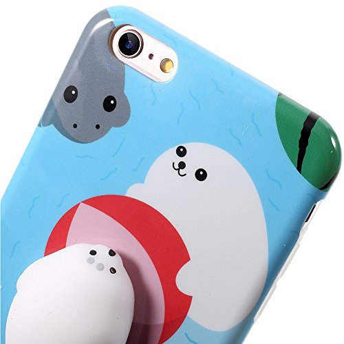 Coque iPhone7,Aliyao iPhone case Étui en plastique squishy 3D Squishy avec Soft Silicon Cute Animal Squeeze Stress Reliever Phone Cover pour iPhone 6/6S Plus,iPhone7/7Plus (iPhone7, chat 5) otarie1