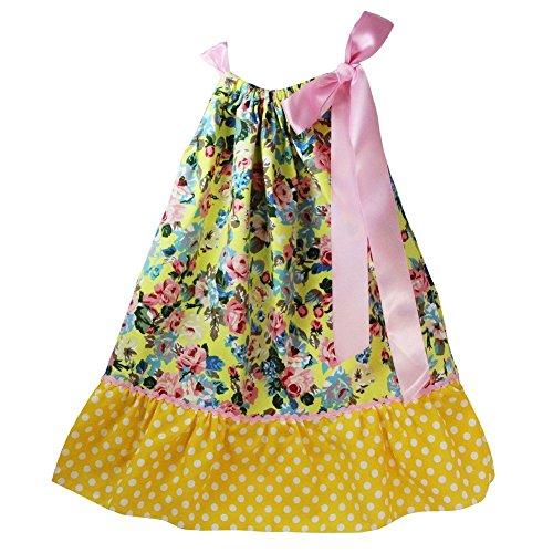 Little Girls Yellow Pink Floral Polka Dot Print Pillowcase Summer Dress 1-7Y