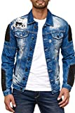 Herren Jeansjacke mit Biker-Elementen, Blau, L