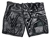 Lederhandschuhe ohne Finger mit Nieten besetzt, Farbe: schwarz, Größe: M