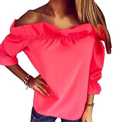Womens Summer Fashion Solid Color weg Schulter Volant dünne beiläufige T-Shirt Spitzenbluse Rot