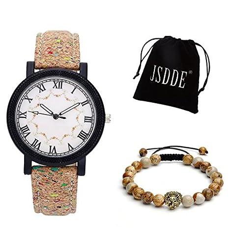 JSDDE 2pcs Montre Set montre à quartz pour femme chic avec chiffres romains bracelet PU ligne de liège + Golden Lion Head Lava pierres précieuses bracelet set sac en peluche