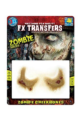 Zombie Wangenknochen Klebe-Tattoo-Set Halloween 2-teilig haut-grün 12,7x17,8cm Einheitsgröße