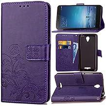 Funda Para Xiaomi Redmi Note2 , pinlu® Alta Calidad Función de plegado Flip Wallet Case Cover Carcasa Piel PU Billetera Soporte Con Trébol de la suerte Púrpura