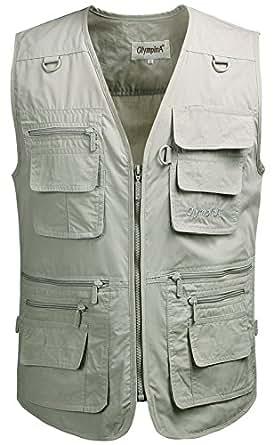 Kaily Herren Frühling Freizeit Multi-Tasche Jeans Weste Jacke(Beige1,EU M(Asien XL))