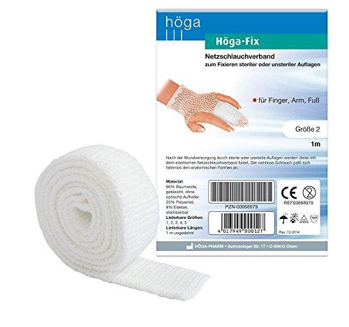 Elastische Schlauchverband (Höga Fix Netzschlauchverband, elastischer Schlauchverband zum Fixieren von Verbänden - Gr. 2 - 1 m, für Finger, Arm und Fuß. 2er-Pack.)