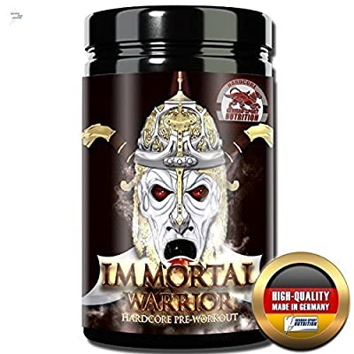 pre Workout Supplement - IMMORTAL WARRIOR Hardcore Booster 480g with Creapure L-Arginin AKG Citrulin by German Sport Nutrition