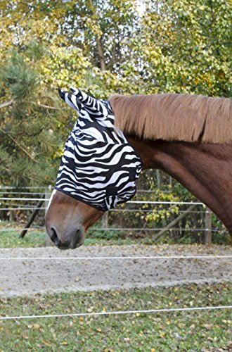 Kerbl 326119 Fliegenschutzmaske Zebra inklusiv Ohrenschutz, Pony