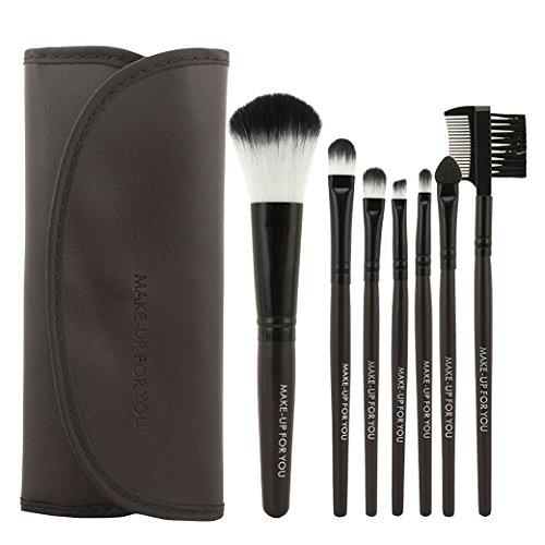 PREMEWISH Pinceaux Maquillage Cosmétique Professionnel Ensemble de 7pcs Set/Kit Cosmétique Brush Beauté Maquillage Brosse Makeup Brushes Cosmétique Avec Sac(Brun)