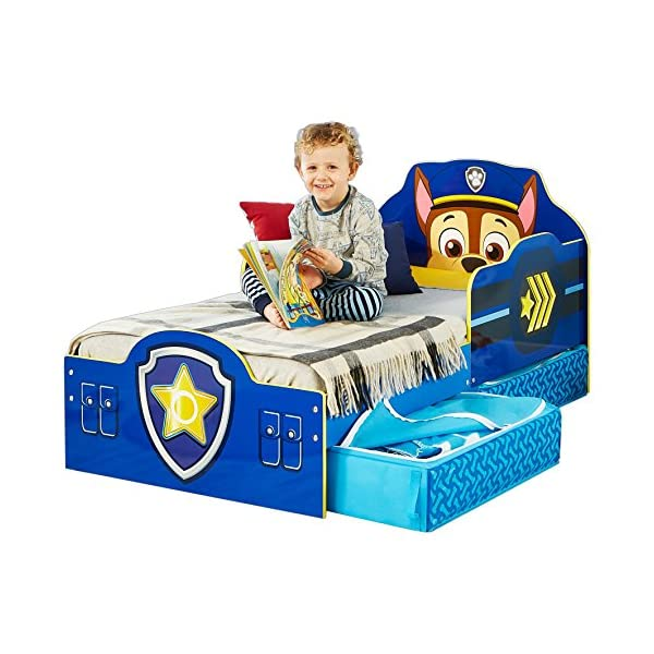 Paw Patrol Chase Kids Toddler Bed with Underbed Storage by HelloHome Paw Patrol Ideal transition from cot to bed - make the move to their first big bed magical with the Paw Patrol toddler bed with underbed storage from HelloHome, featuring Chase Takes cot bed size mattress - 140 (l) x 70 cm (w). Mattress not included. Assembled size (h) 68, (w) 77, (l) 145 cm Suitable for 18 months to 5 years, this blue kids bed is for your little Paw Patrol and Chase fan 2