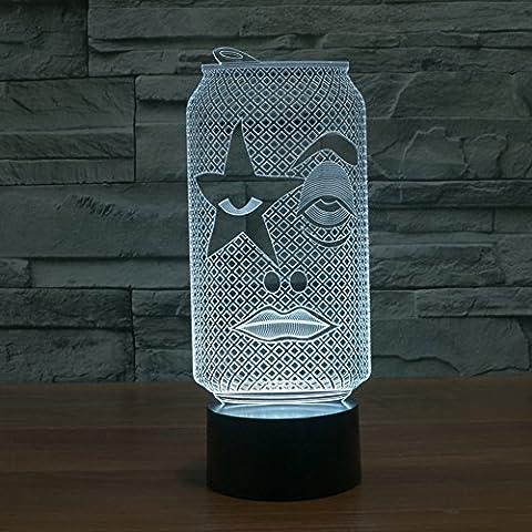 Illusione 3d lampada luce notturna jawell Nero Bianco Bottiglia 7Cambiare colore Touch USB tavolo regalo giocattoli decorazioni