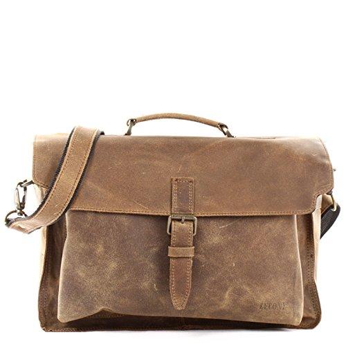 LECONI Collegetasche Echtleder Retro Damen Herren Messenger Bag Unisex DIN A4 Aktentasche 40x28x12cm LE3008 oliv