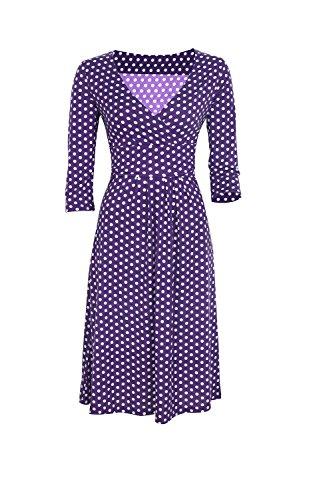 Des années 1950 Vintage manches 3/4 col v profond Polka Dot femmes Swing Party Dress purple