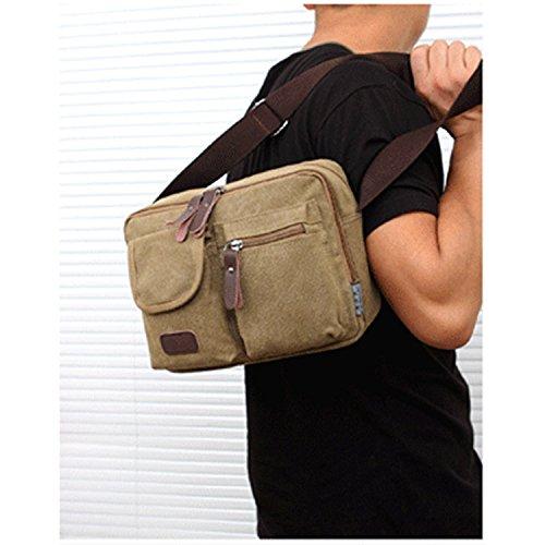 Outreo Borse a Tracolla Uomo Borsa Vintage Sacchetto Borsa a Spalla di Tela Borsello per Scuola Tasca Sportive libri Messenger Bag Sport Borse da Viaggio beige
