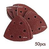 KING DO WAY 50 Pcs Papier de Ponçage Abrasifs en Triangle Bricolage Outils Accessoires pour Ponceuses Abrasive (10 Par Grain)