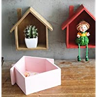 jellbaby creativo pequeña casa Multi–propósito multi–carne planta estantes cuadro decorativo de madera colgante * 1pc 19*24*9cm rosa