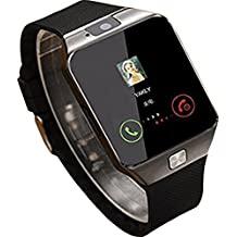 Bluetooth Smart Watch Compatible with All 3G, 4G Phone with Camera and Sim Card Support Compatible with Smartphones M9 (Black) (Silver)