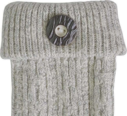 Trachtensocken Umschlagsocken mit Knopfapplikation - perfekt zu Dirndl oder Lederhose Farbe Silbermelange Größe 39/42 - 3