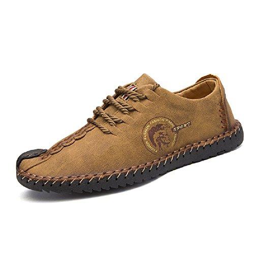 Joyto uomo scarpe stringate basse di pelle casuale lavoro oxford estate cachi 43