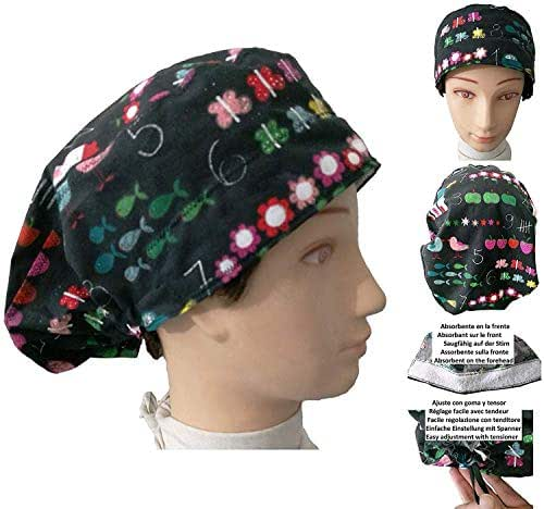 cappello chirurgico donna SLATE per Capelli Lunghi Con striscia assorbente sulla fronte. Regolabile con tenditore e gomma medico Infermiera Chirurgo Dentista Veterinario cucinare