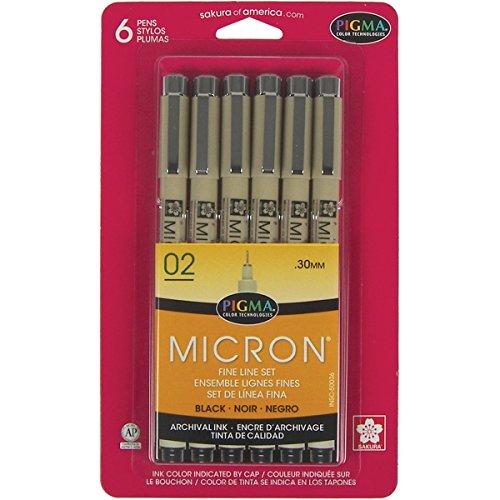 Pens 02 .3mm 6/Pkg-Black ()