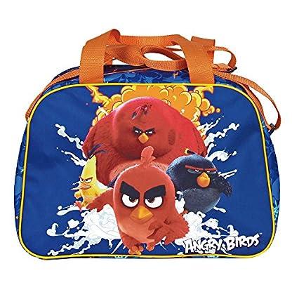 PERLETTI Bolso Deportivo Niño Angry Birds Azul Naranja – Bolsa de Deporte Infantil con Red Bomb Chuck y Terence para el Gimnasio Viajes Escuela Sport – Azul – 28x41x21 cm