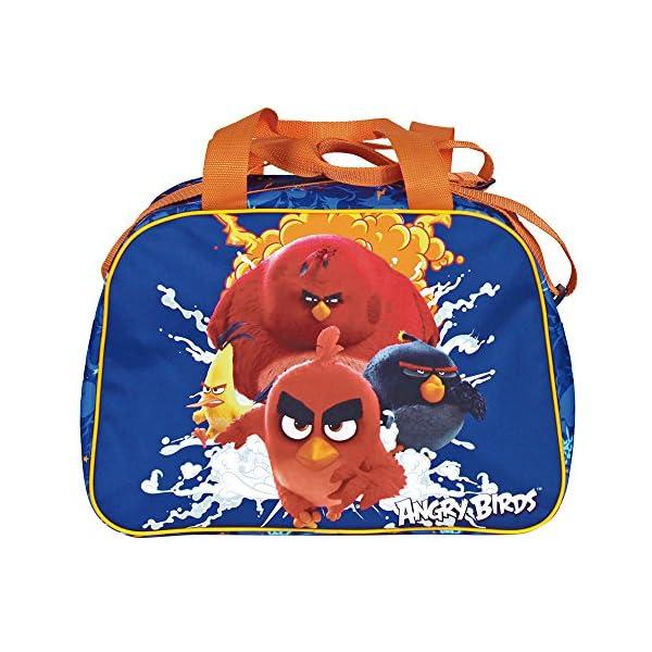 51GFfHxdVEL. SS600  - PERLETTI Bolso Deportivo Niño Angry Birds Azul Naranja – Bolsa de Deporte Infantil con Red Bomb Chuck y Terence para el Gimnasio Viajes Escuela Sport - Azul - 28x41x21 cm