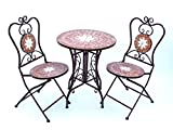 DanDiBo Sitzgruppe Merano 12001-2 Gartentisch + 2 Stk. Gartenstuhl aus Metall Mosaik
