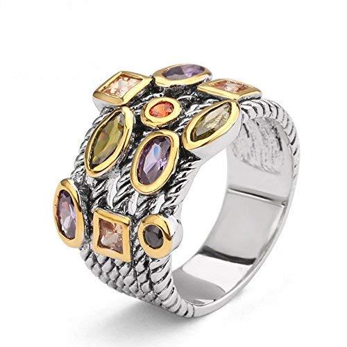 UNY Modeschmuck Designer Marke Inspiriert mit Mehrfarbig Zirkonia Twisted Kabel Ring für Frauen perfektes Valentins Geschenk (18.19)