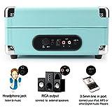 1byone-Giradischi-Stereo-con-Cinghia-a-3-Velocit-Portatile-Altoparlanti-integrati-con-Uscita-RCA-Jack-per-Cuffie-MP3-Riproduzione-Musica-dello-Smartphone-Turchese