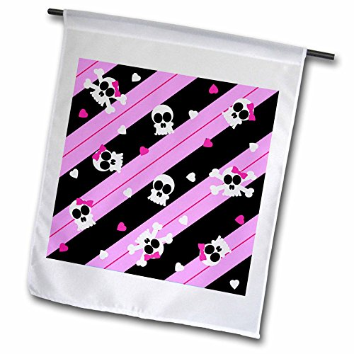 3DROSE FL _ 12115_ 1cute Pink Skull and Hearts stampa bandiera da giardino, 12da 45,7cm