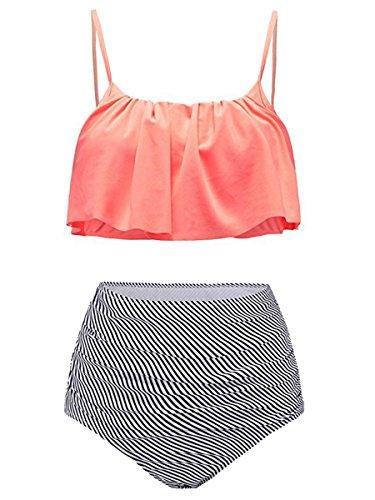 Summer Mae Damen Bikini-Set mit Volant Vintage Badeanzug, Gr.-L, Orange
