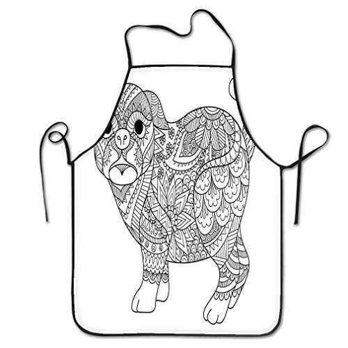 rwgfdgt Funny Personality Apron line Art Design Cute Pug Dog Design Element Design Adult Coloring Book Page Chef Kitchen Aprons 20.4 * 28.3 inch -