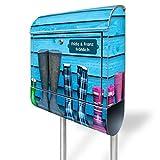 banjado - Personalisierter Standbriefkasten Motivbriefkasten mit Ständer und Motiv Gummistiefel