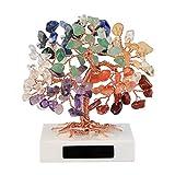 CrystalTesrs Arbre de Vie en Pierre Chakra Décoration Feng-Shui Cristal Multicolore Guérison Méditation Base en Marbre Petits Ornements...
