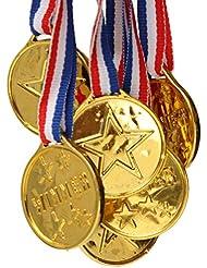 ENFANTS médailles vainqueurs médailles d'or plastique médailles avec ruban Sports Awards jouet Lots cadeaux de fête Sports Jour récompense