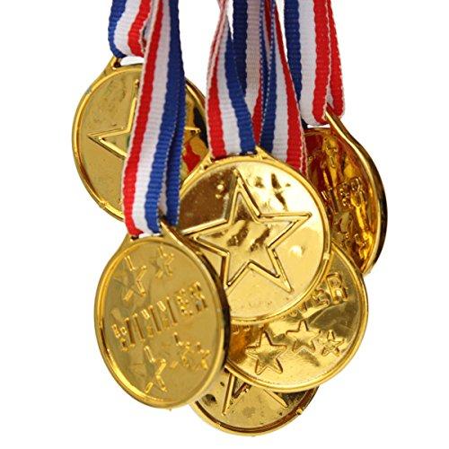 Kinder Medaillen Gewinner Gold Medaillen Kunststoff Medaillen mit Band Sports Awards Toy Tütenfüller Sports Day Belohnung, M