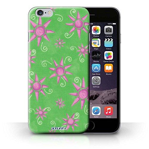 Kobalt® Imprimé Etui / Coque pour iPhone 6+/Plus 5.5 / Vert/Blanc conception / Série Motif Soleil Vert/Rose