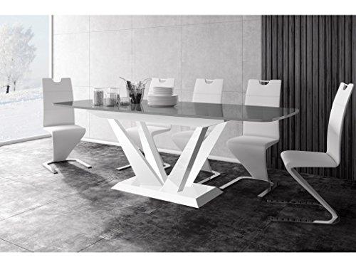 H MEUBLE Table A Manger Design Extensible 160÷260 CM X P : 89 CM X H: 75 CM - Gris/Blanc