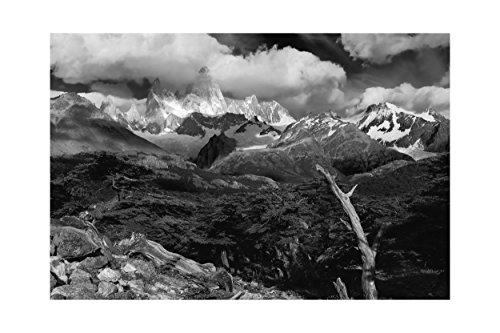 Patagonische Landschaft schwarz / weiß Druck -