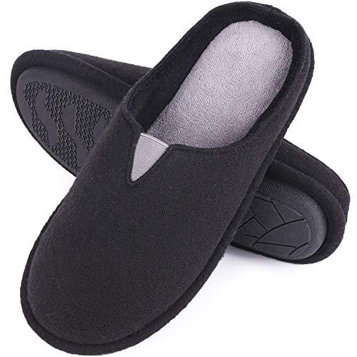 EverFoams Damen Memory Foam Hausschuhe, Pantoffeln mit Jersey Oberfläche, Schwarz, 36/37 EU (Schwarz Fußbett, Weiches)