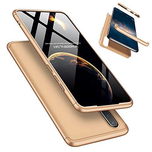 Laixin 3 in 1 Handyhülle für Huawei P30 Lite/Nova 4e Hülle + Panzerglas, Ultra Dünn PC Plastik Anti-Kratzen Schutzhülle Schutz Case Cover mit Bildschirmschutzfolie, Gold