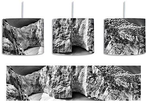 Monocrome, Klippe Meer Küste Steine Wellen inkl. Lampenfassung E27, Lampe mit Motivdruck, tolle Deckenlampe, Hängelampe, Pendelleuchte - Durchmesser 30cm - Dekoration mit Licht ideal für Wohnzimmer, Kinderzimmer, Schlafzimmer